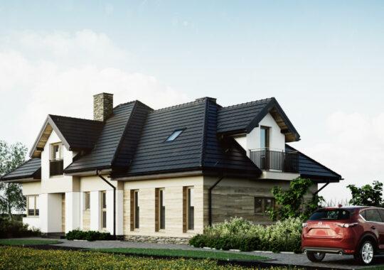 Dom jednorodzinny w Gnojnicy - wizualizacja - projekty budynków