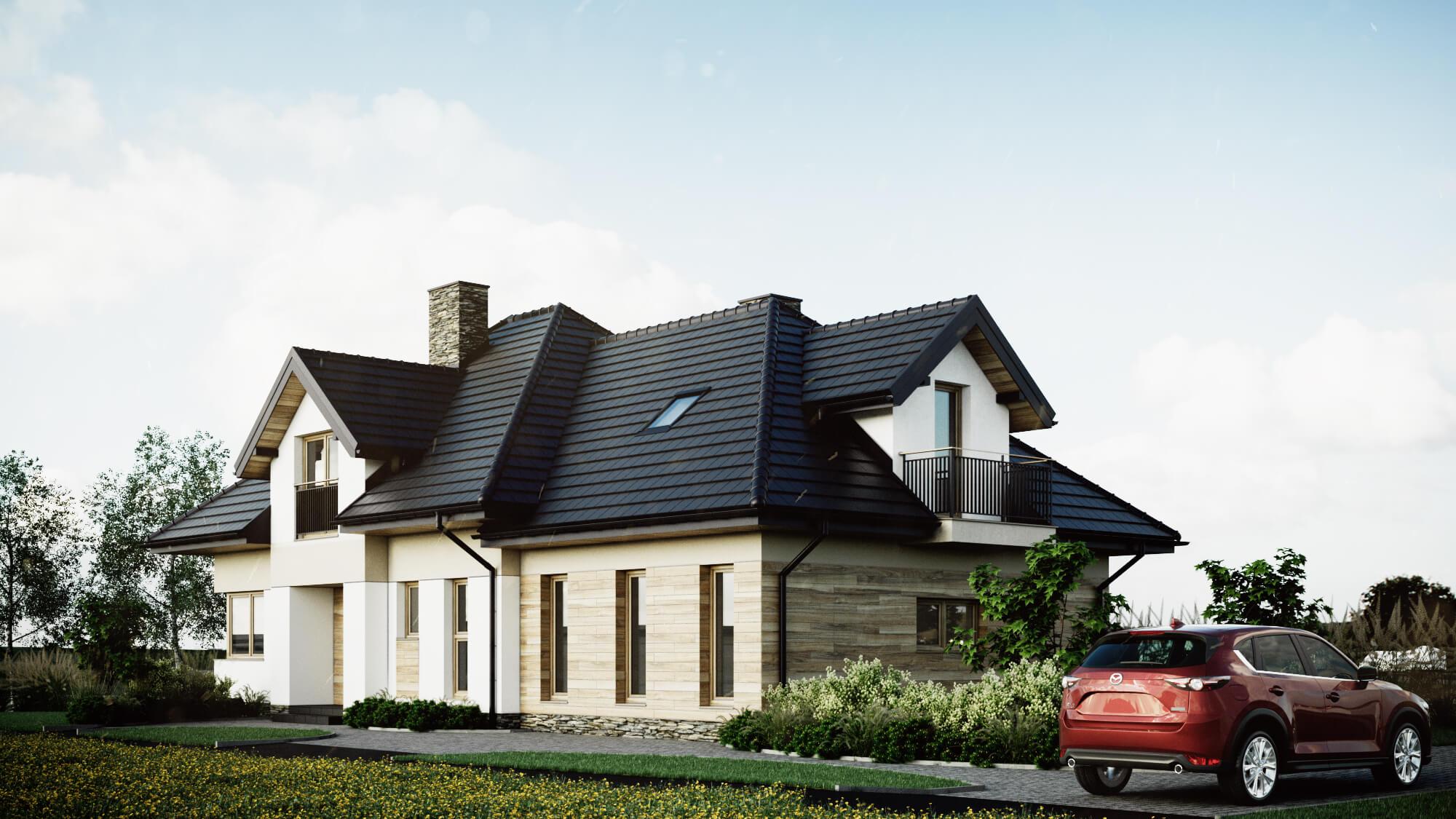 Archikom - Dom jednorodzinny w Gnojnicy - wizualizacja - projekty budynków